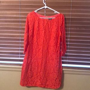 Gorgeous lace orange/coral long-sleeved dress